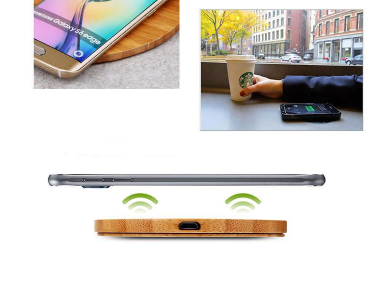 Heart Shape Wood Bamboo Qi Wireless Charger