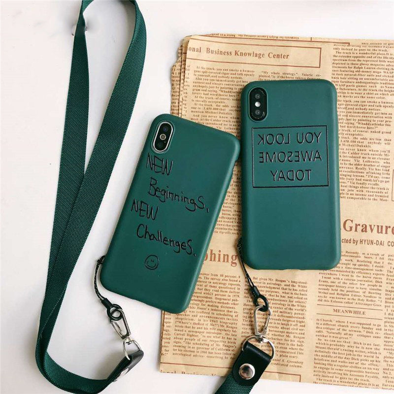 Vannego phone case for iphone X 8 7 6 6s back cover Lanyard simple strap cover case for iPhone Xs