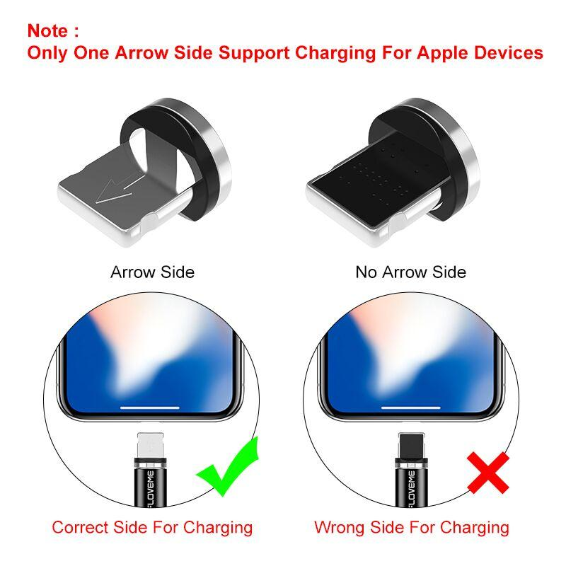 LED Magnetic Cable For Lightning Micro USB Type C Phone Cable 1m 2A Fast Charge Magnet Charger