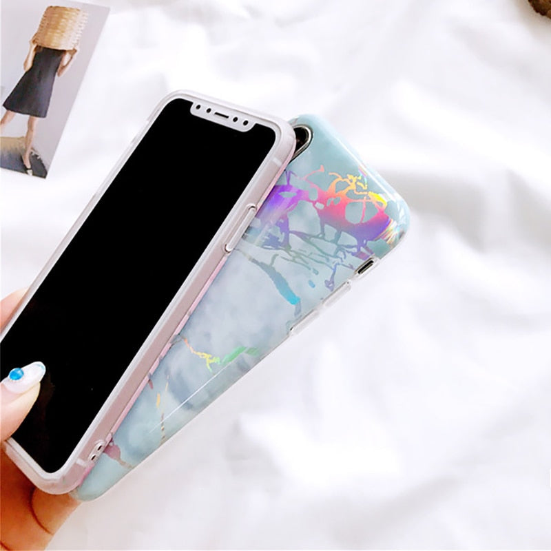 Laser Marble Texture Phone Case For iPhone XR XS Max X 6 6S 7 8 Plus Soft IMD Protective Phone Back Cover Coque