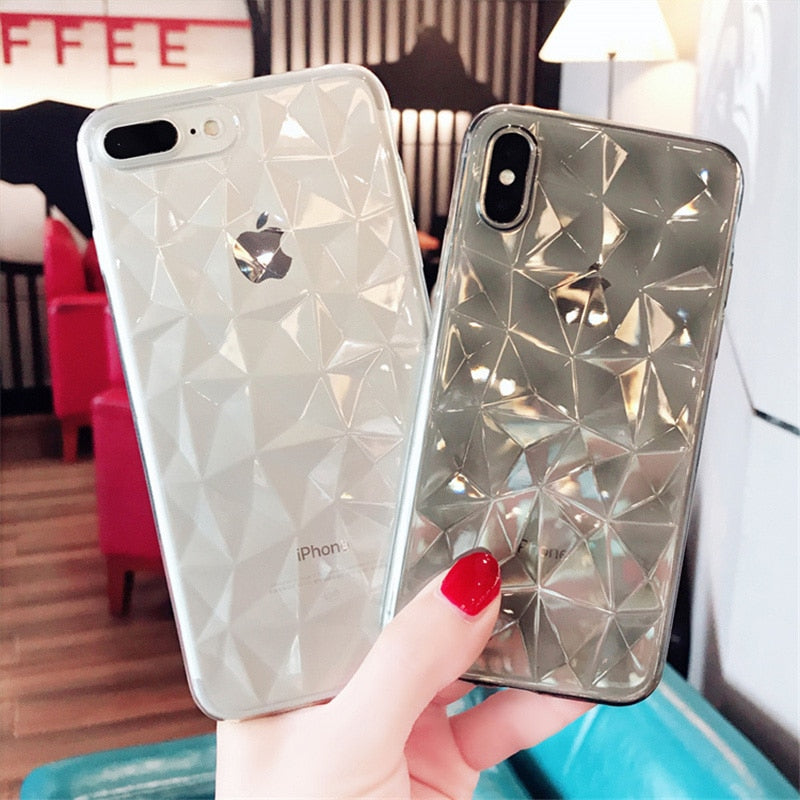 Lovebay Diamond Texture Case For iPhone 6 6s 7 8 Plus X Soft Phone Cover for iPhone 7 Luxury Transparent Case Ultra Thin Coque