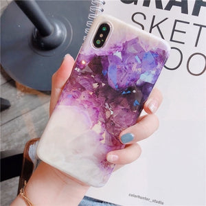 Purple crystal Marble Case for iPhone