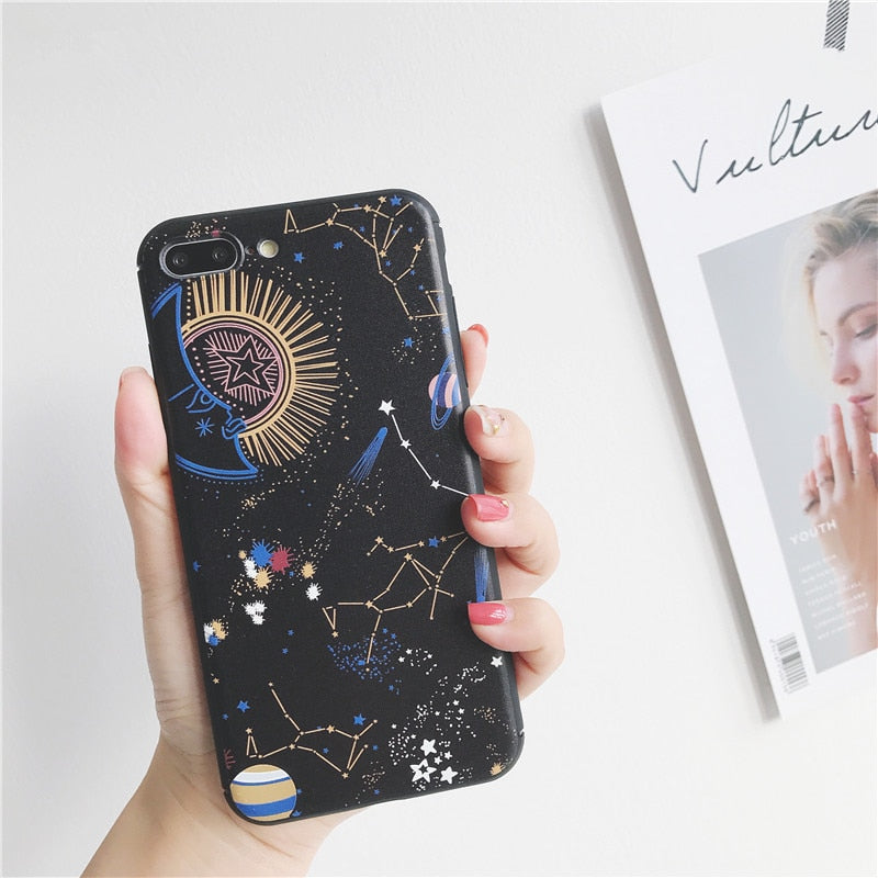 Space planet 3D Relief Silicone Case for iphone 7 7plus Stars constellation painted case For iphone 6 6s 6plus 8 8plus