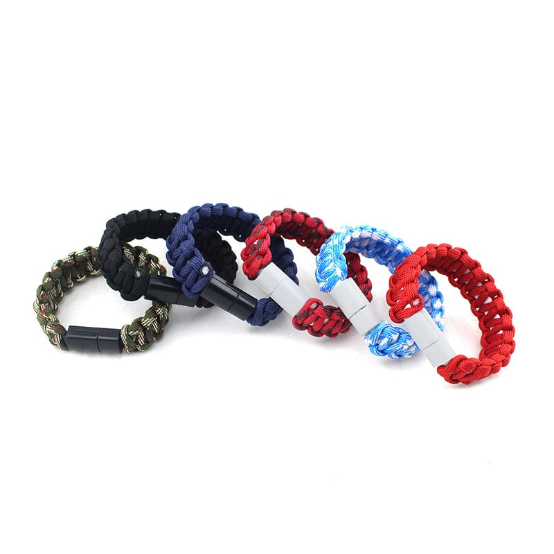 USB Cable Bracelet Charging Sync Data Cable Cord