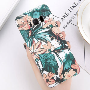 Green Leaves Phone Case For Samsung Galaxy S9 S8 Plus Flower Full Back Cases For Samsung S9 Plus Luminous Hard PC Cover
