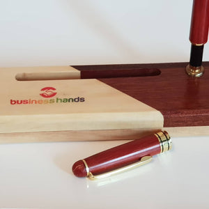 Rosewood ball pen and mixed wood colour case set