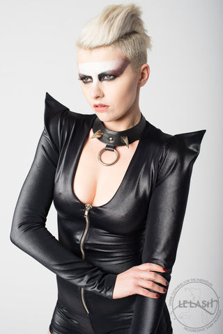 Vanta Black Double Claw Leather Choker
