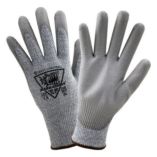 12 pairs - West Chester Barracuda Gray PU Palm coated Speckle Gray HPPE Gloves- ANSI Cut A4 -XSmall up to 3XL