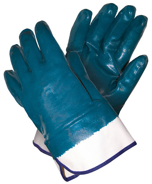 MCR Safety Predator Fully Coated Smooth Blue Nitrile Work Gloves with White Jersey Liner and Safety Cuff, 1 DOZEN