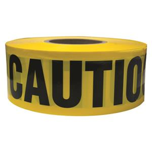 "Yellow Caution Barricade Tape, 2 Mil, 3"" x 1000 ft"