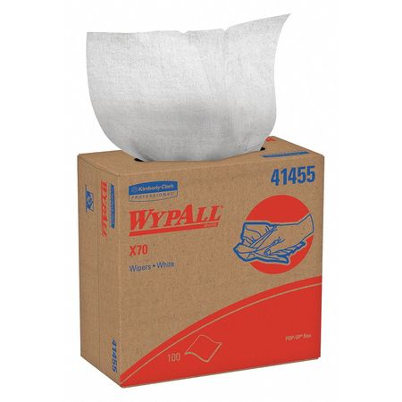 WypAll X70 White Cloth Wipers, Pop-Up Box, White, 100/box