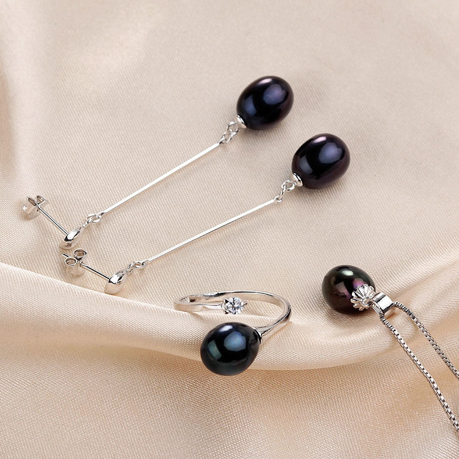 Genuine Cultured Freshwater Pearl Necklace and Earring Set 925 Silver