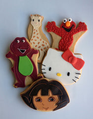 Barney, Sofie the Giraffe, Elmo, Hello Kitty and Dora Cookies
