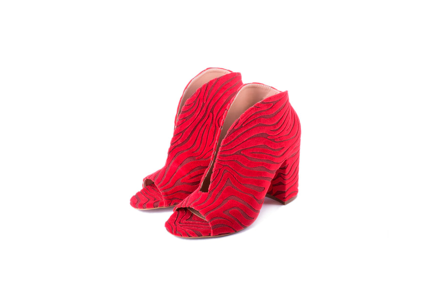 Ankle Boots Zebra (red)
