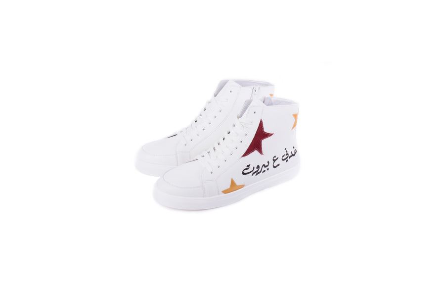 Khedni 3a Beirut High tops (White/Burgundy)