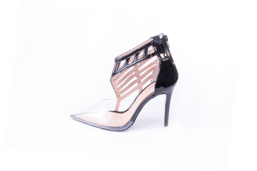 Pointed Toe Cage Pumps PVC Black