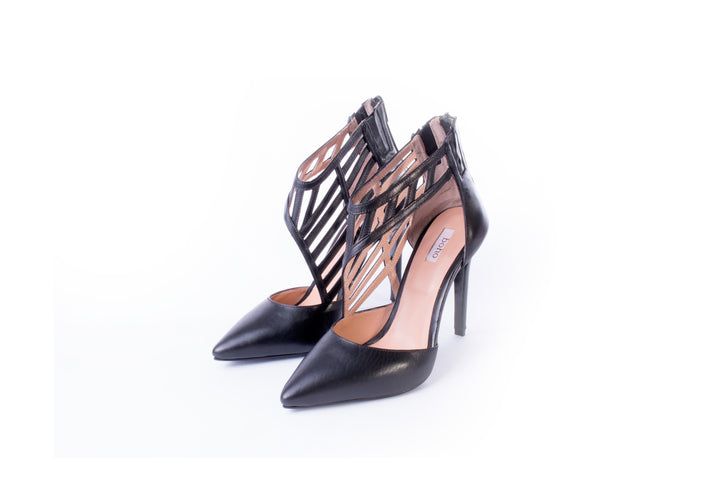 Pointed Toe Cage Pumps Black Leather