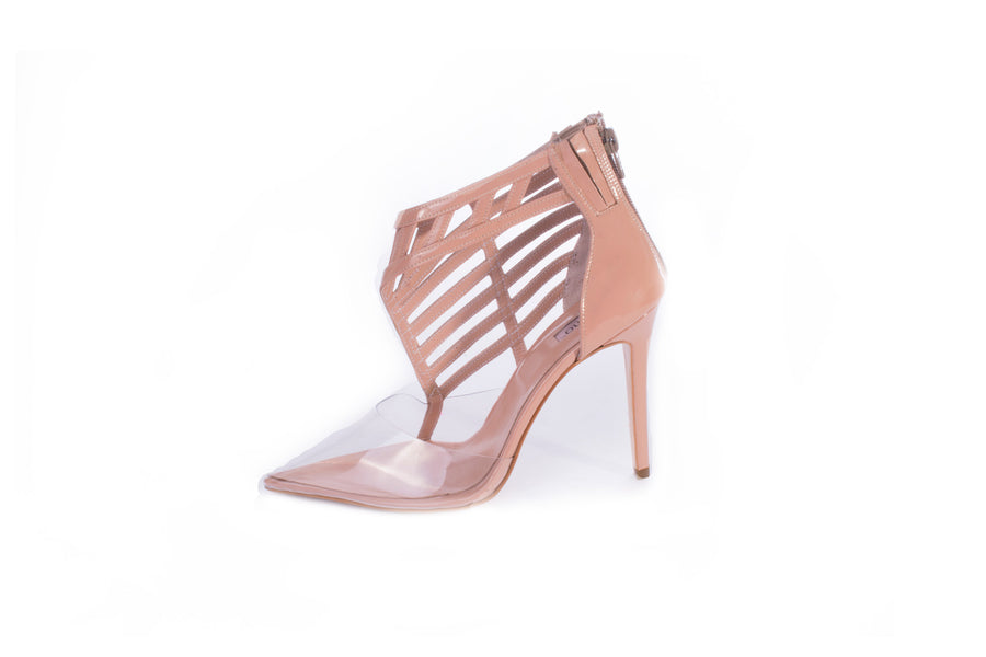 Pointed Toe Cage Pumps PVC Beige