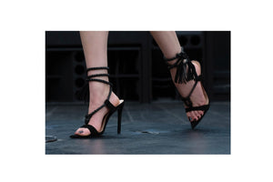 High Heel Rope Sandals (Black)