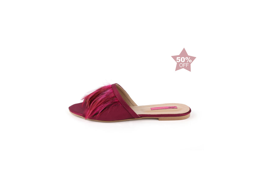 Feather Slides (Fuchsia)