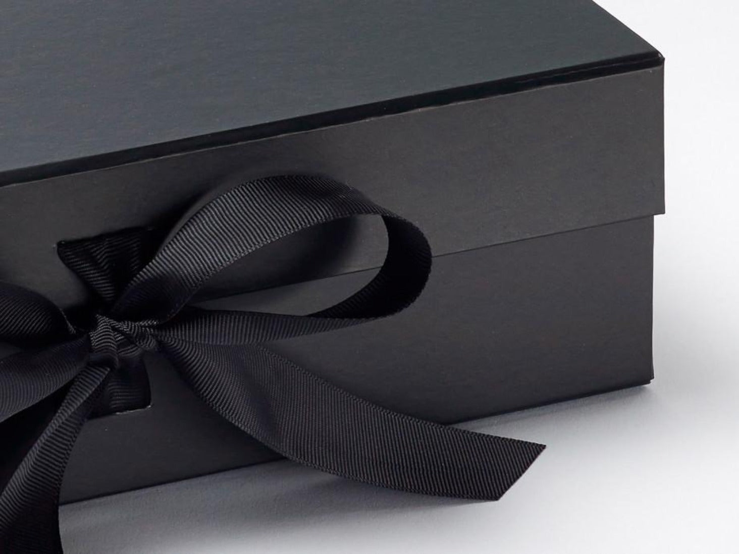 Luxury Black Large Folding Gift Box With Ribbon From