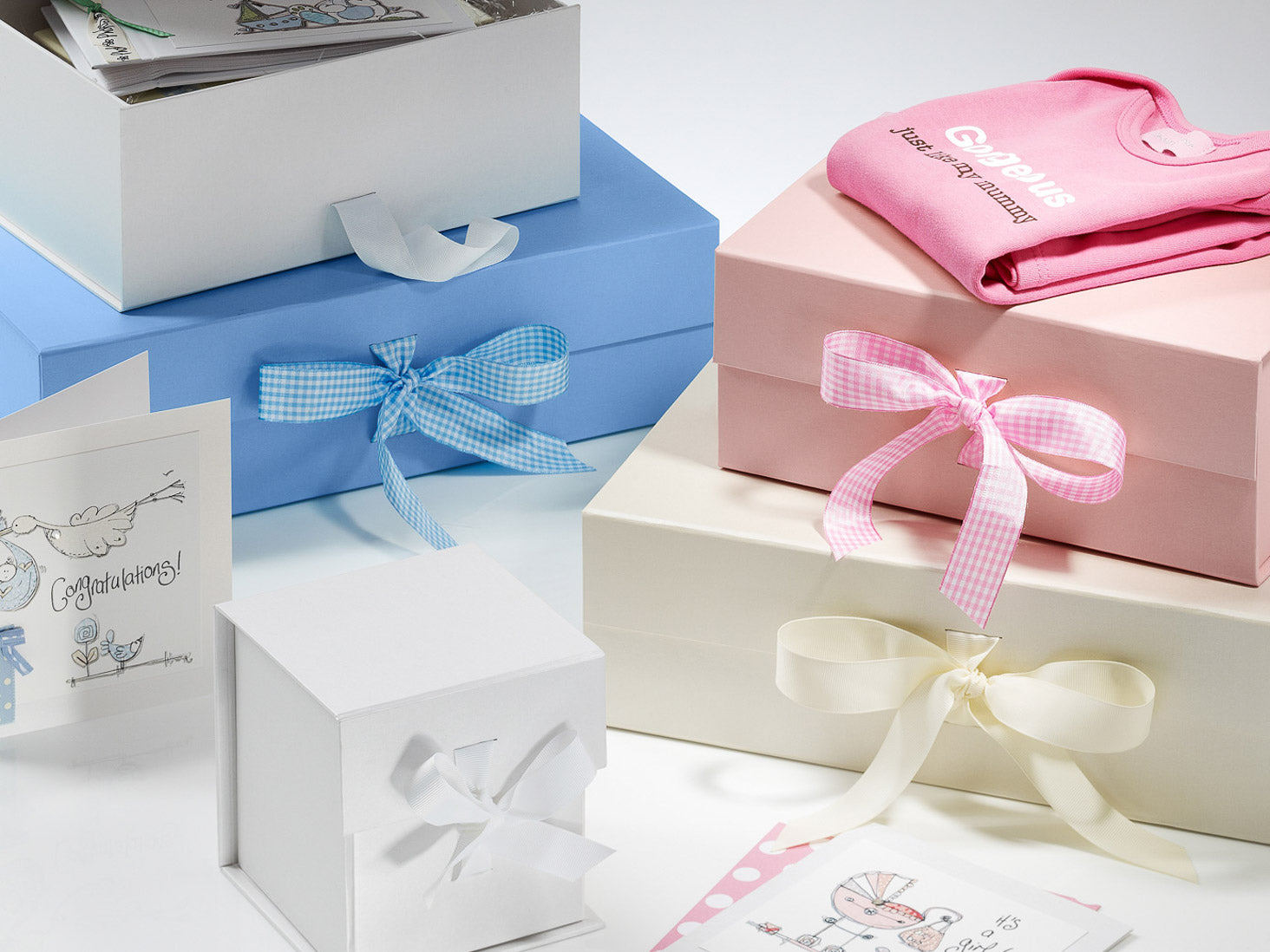 Baby Memory and Keepsake Boxes and H&er Gift Packaging; White Large ... & Wholesale Luxury White Large Gift Hamper Boxes from Stock - FoldaBox USA
