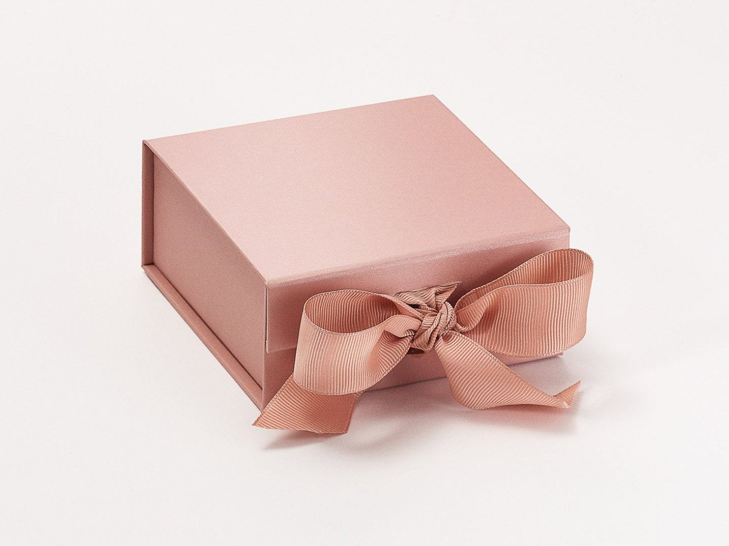 Rose Gold Small Gift Boxes With Fixed Grosgrain Ribbon