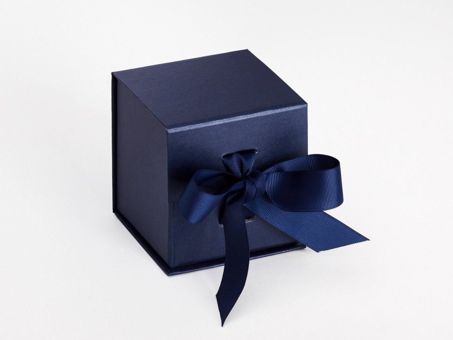 Sample Navy Blue Small Cube Gift Box with changeable ribbon
