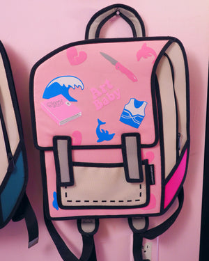 art pink backpack
