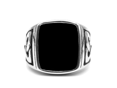 Robust black signet ring - Urban Chains