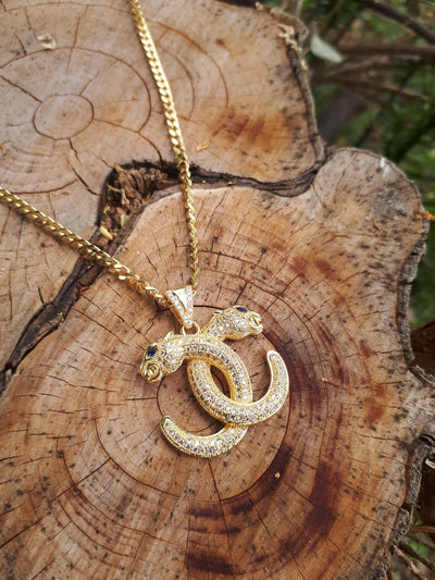Iced Leopard necklace gold - Urban Chains