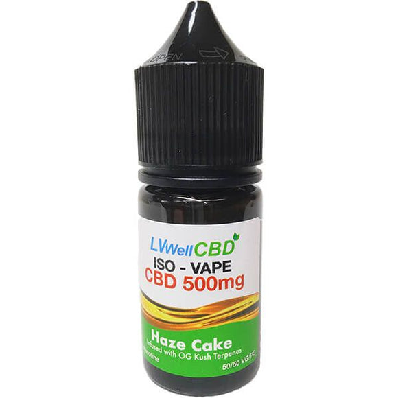 LVWell CBD Vape Juice 500mg of CBD - 30ml Bottle. Haze Cake Flavour