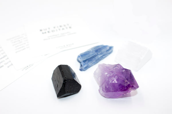 But first meditate amethyst crystal rock gift set