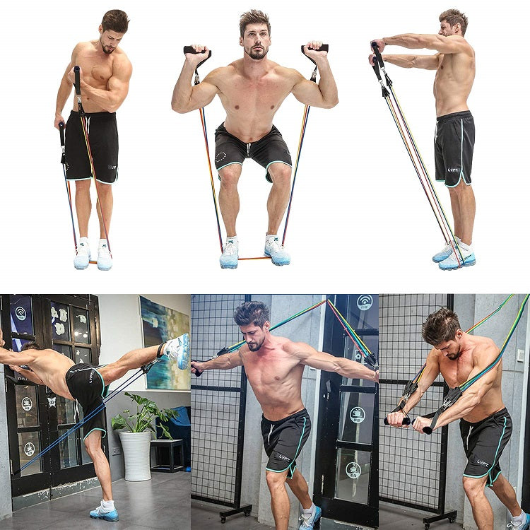 Image result for fit model men resistance band display of man working out with 11 pcs Fitness Resistance Bands Set Best For Home & outdoor fitness. trusted gadget store highly reviewed products for real solutions image shows how easy it is to use the resistance bands anywhere anytime image also shows the convenience of exercising anywhere and easy storage