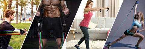 Image result for fit model men and women resistance band display of man working out with 11 pcs Fitness Resistance Bands Set Best For Home & outdoor fitness. trusted gadget store highly reviewed products for real solutions image shows how easy it is to use the resistance bands anywhere anytime image also shows the convenience of exercising anywhere and easy storage
