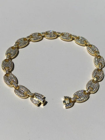 4fcbfb7d0 8mm Gucci Link Bracelet 14k Gold Over Solid 925 Sterling Silver Diamond ICY