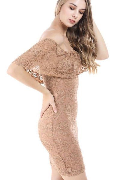 Fashion Magazine Women's Floral Lace Ruffled Off Shoulder Bodycon Mini Dress-SaltTree