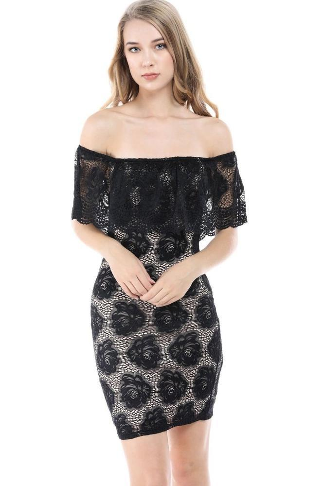 Fashion Magazine Women's Floral Lace Ruffled Off Shoulder Bodycon Mini Dress