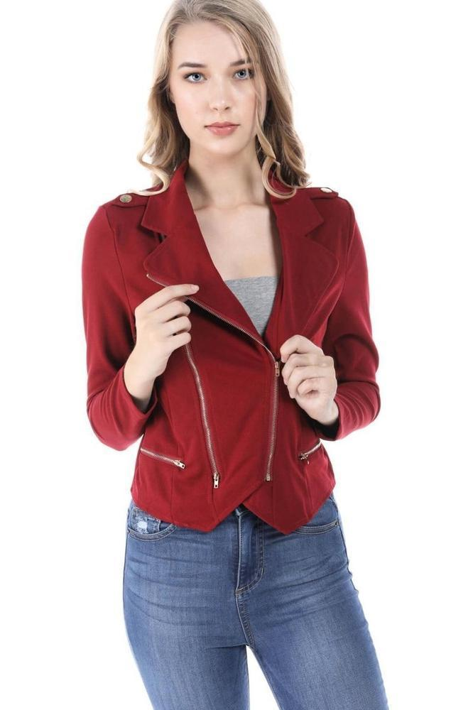 Fashion Magazine Women's Zipper Front Double Breasted Long Sleeve Jacket