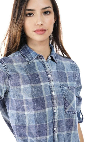 Salt Tree Women's Acid Wash Checkered Print Button Down Long Sleeve Shirt-SaltTree
