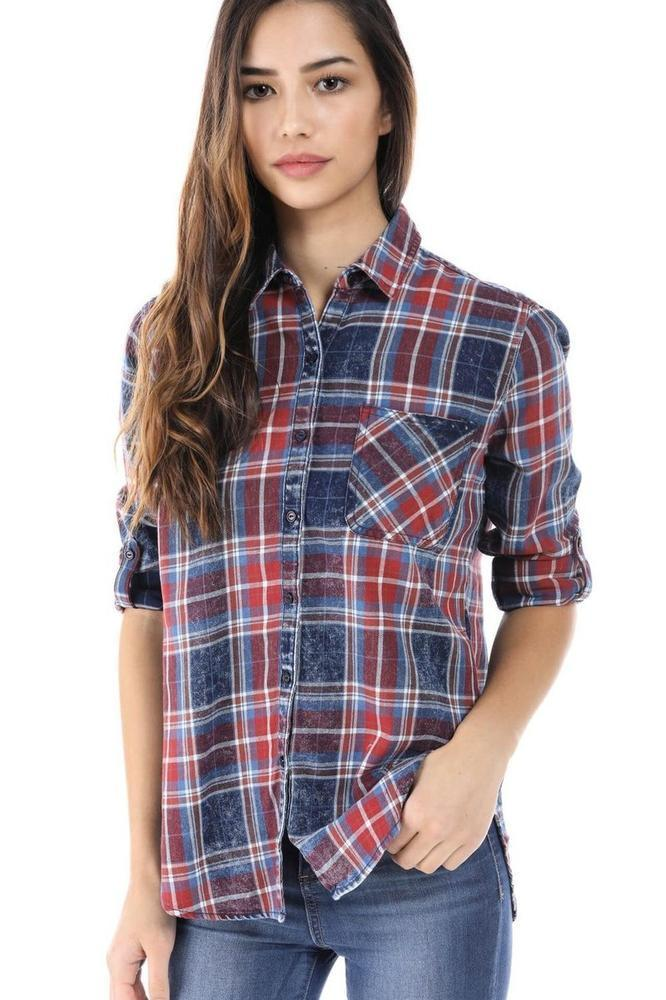 Salt Tree Women's Acid Wash Checkered Print Button Down Long Sleeve Shirt
