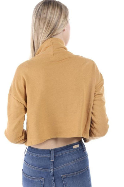 Salt Tree Women's Basic Long Sleeve Turtle Neck Drawstring Cropped Sweatshirt-SaltTree