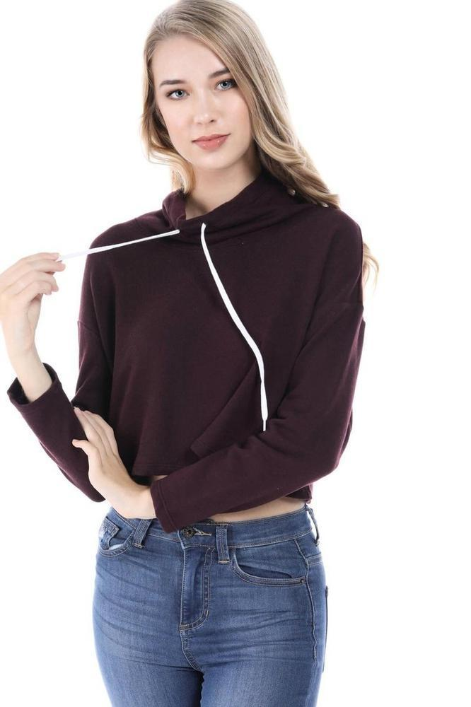 Salt Tree Women's Basic Long Sleeve Turtle Neck Drawstring Cropped Sweatshirt