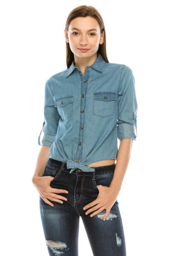 Salt Tree Women's Button Down Rolled Up Sleeves Knotted Denim Crop Top