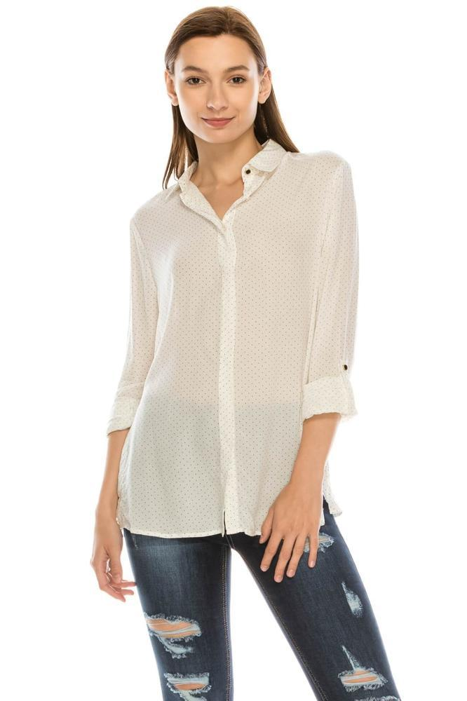 Salt Tree Women's Button Down Rolled Up Sleeves Side Split Polka Shirt Top