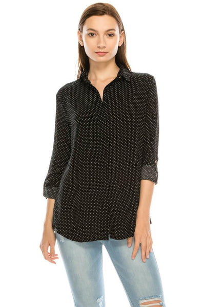 Salt Tree Women's Button Down Rolled Up Sleeves Side Split Polka Shirt Top-SaltTree