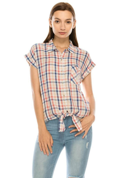 Salt Tree Women's Button Down Short Sleeves Knotted Hem Checked Shirt-SaltTree