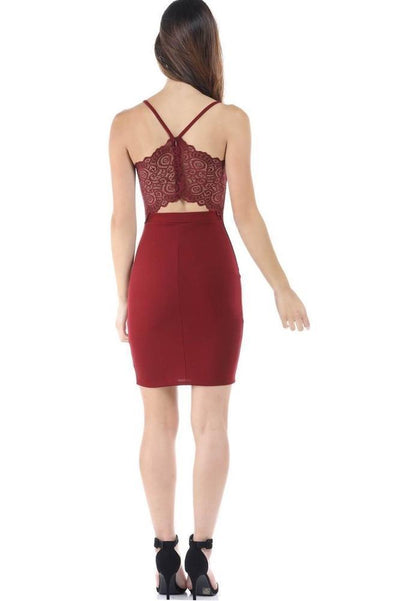 Salt Tree Women's Chiffon Open Back Lace Scoop Neck Bodycon Dress-SaltTree