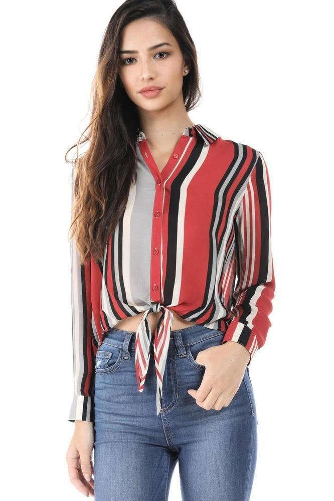 Salt Tree Women's Chiffon Stripe Print Button Closure Tie Front Long Sleeve Top