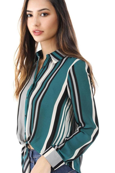 Salt Tree Women's Chiffon Stripe Print Button Closure Tie Front Long Sleeve Top-SaltTree